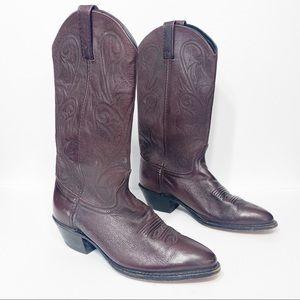 DAN POST Western Boots, Dark Red, 8.5